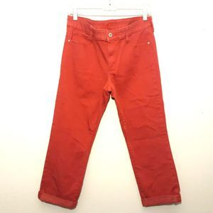 ARIZONA womens jeans size 11 red roll cuff cropped